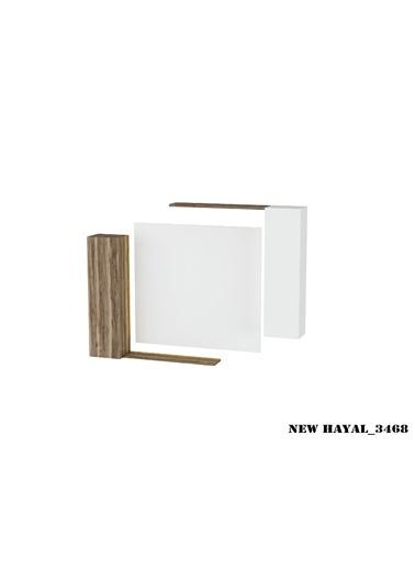 Sanal Mobilya Hayal 3468 Tv Ünitesi Leon Ceviz/Parlak Beyaz Beyaz